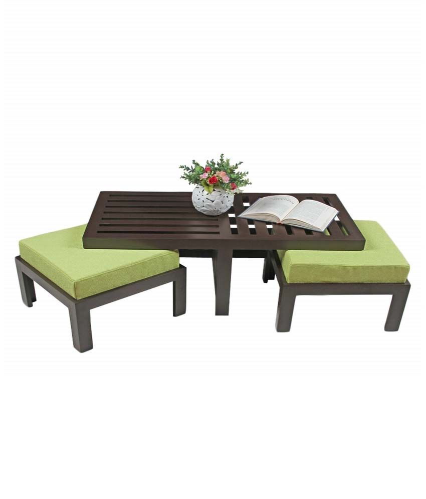 Arra Trendy Coffee Table With Two Stools Green Buy Arra Trendy Coffee Table With Two Stools