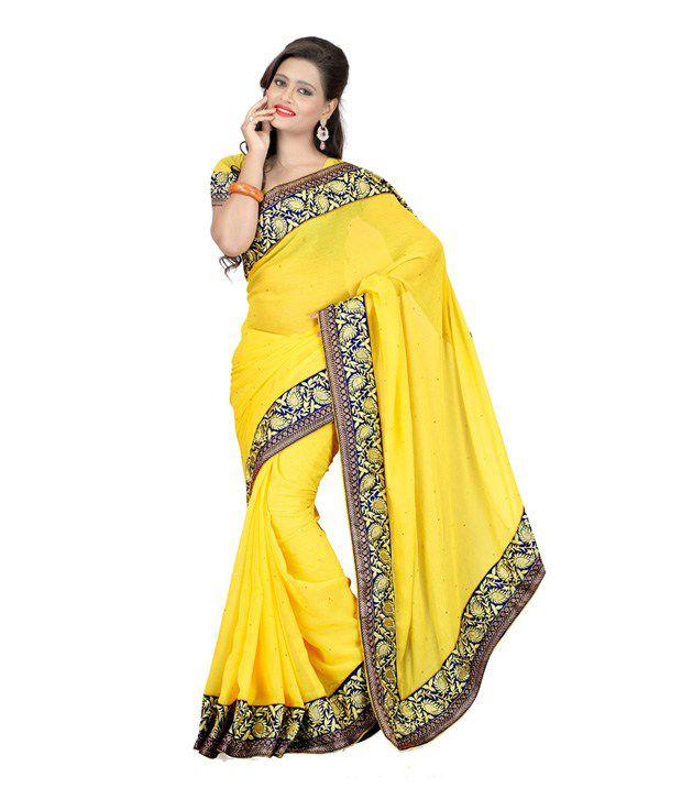 Ambaji Yellow Semi Chiffon Saree