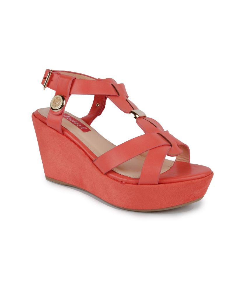 Footash Red Heeled Sandal For Women