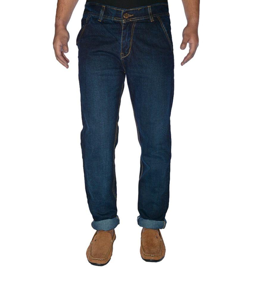 K-San Blue Cotton Faded Regular Jeans