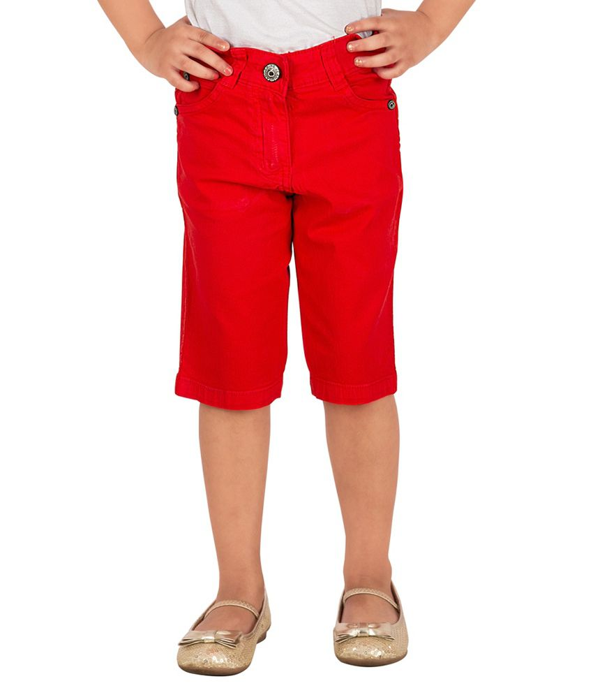 Tangerine Red Cotton Capri
