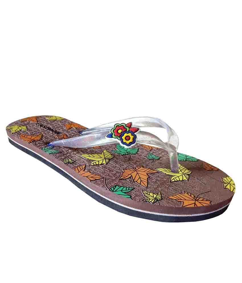 Unispeed Brown Multi Leaf Ladies Flipflops