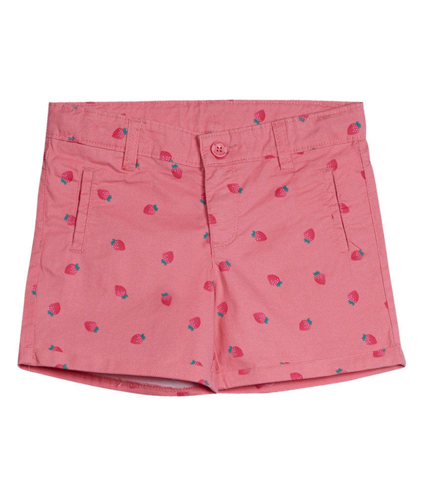 United Colors of Benetton Printed Orange Casual Shorts With Fruit Print
