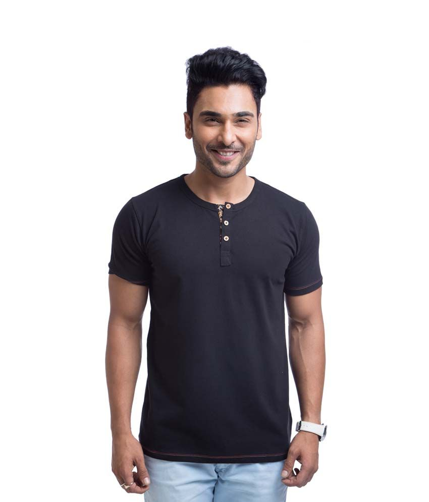 Cult Fiction Black Cotton Henley Half Sleeves Shirt