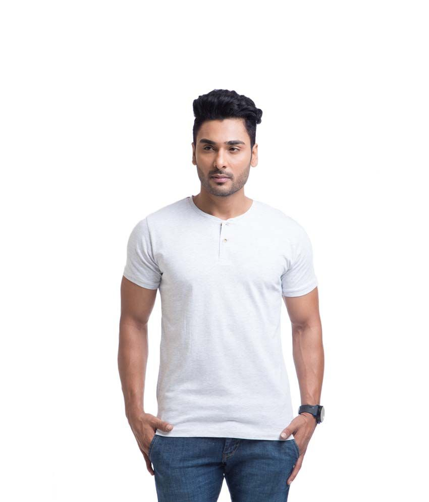 Cult Fiction White Cotton Henley Half Sleeves Shirt
