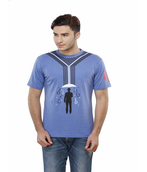 Delhi Daredevils Blue Printed Cotton Round Neck T-shirt