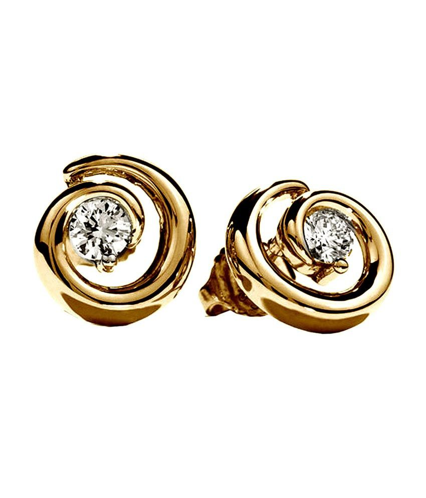 Facetzinspire 14kt Gold Studed Contemporary Diamond Earring