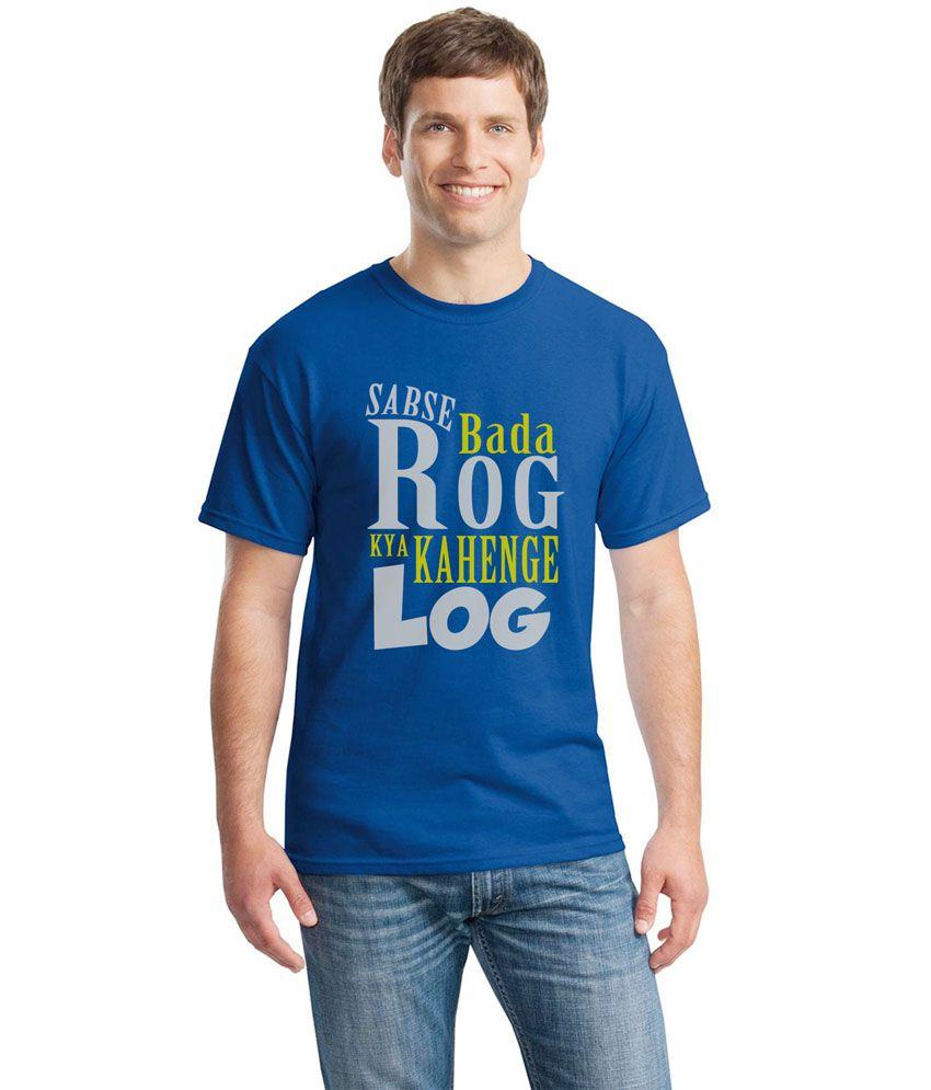 Inkvink Clothing Blue Cotton Round Neck Printed Half Sleeves T-Shirt