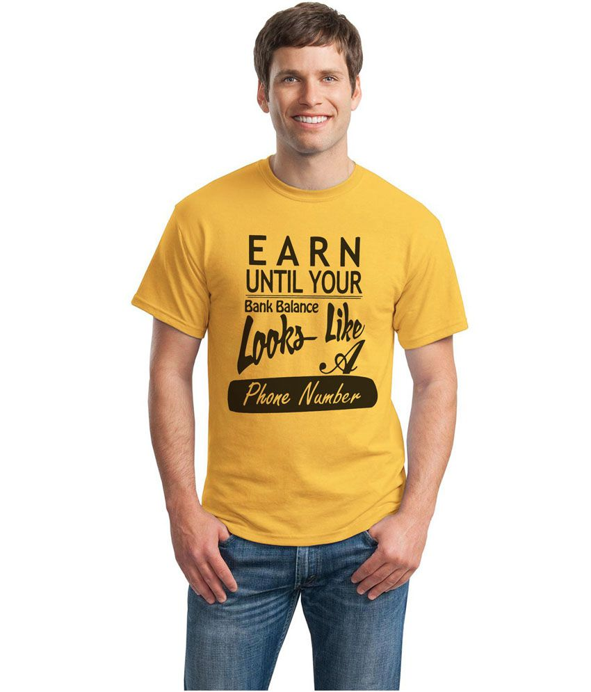 Inkvink Clothing Yellow Cotton Round Neck Printed Half Sleeves T-Shirt