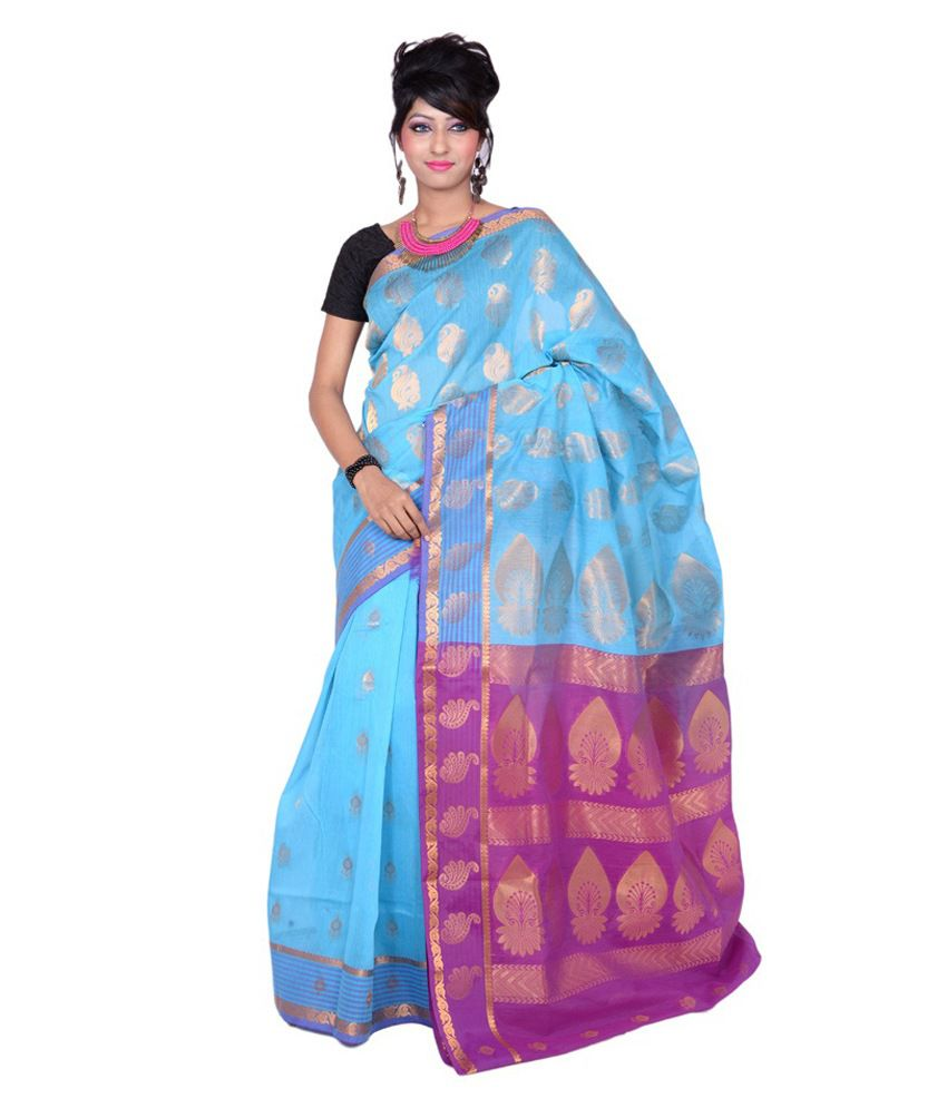Banarasi Silk Works Blue With Multicolour Cotton Saree With Blouse Piece