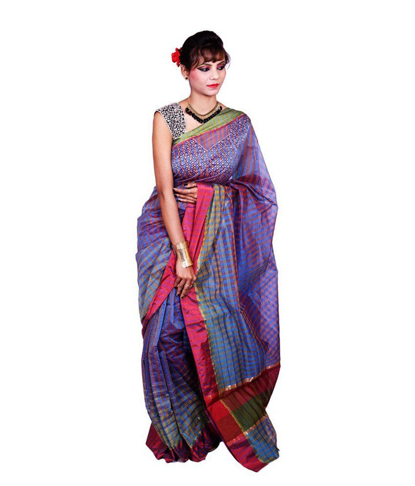 Banarasi Silk Works Blue With Multicolour Cotton Saree With Blouse Piece
