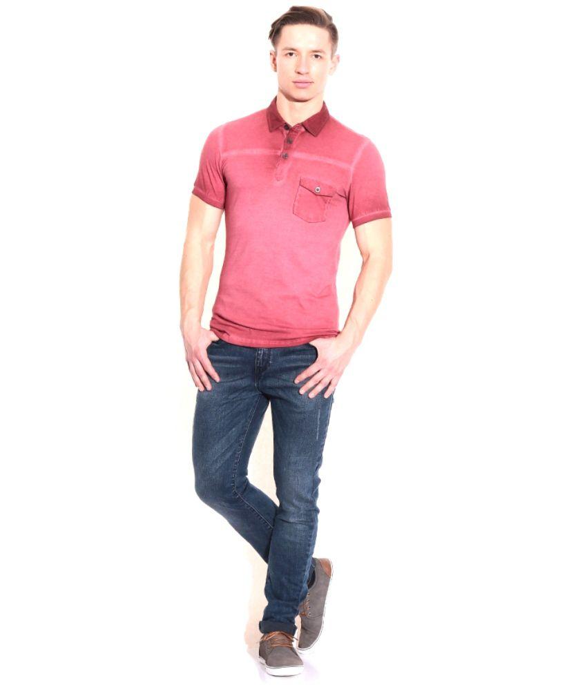 Pagas Silks Red Cotton Blend Half Sleeve T-Shirt