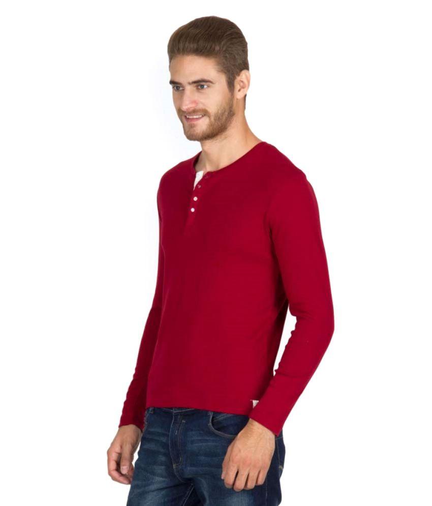 Pagas Silks Red Cotton Blend Full Sleeve T-Shirt