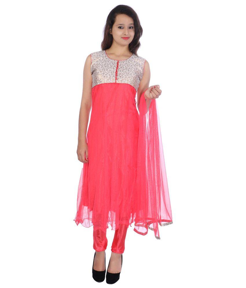 Cizara Pink Net Anarkali Suit