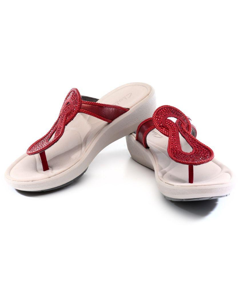 2576098b529e Clarks Wave Glitz Red Sandals Price in India- Buy Clarks Wave Glitz ...
