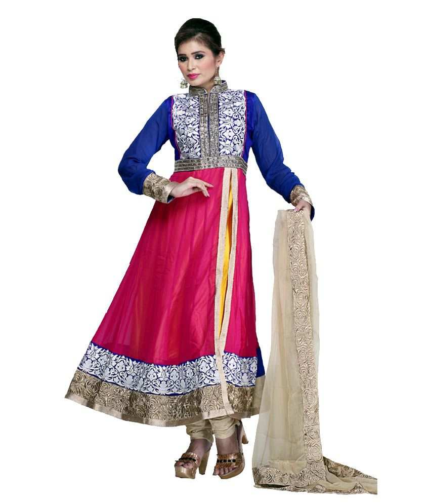 Mannmohh Multicolour Pure Georgette Anarkali Stitched Salwar Suit - Pack of 3