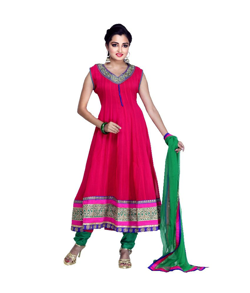 Mannmohh Pink Pure Georgette Anarkali Stitched Salwar Suit - Pack of 3