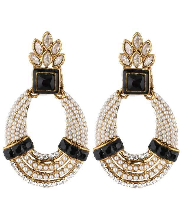 The jewelbox red meenakari lotus pearl jhumki earring for women