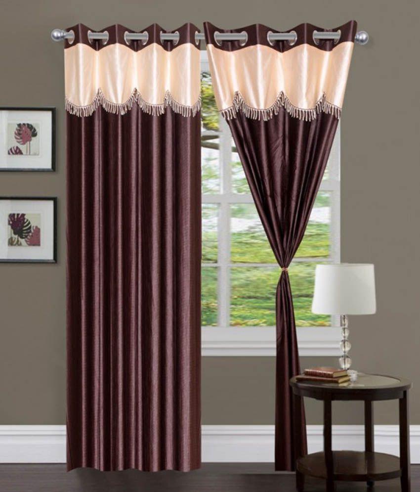 Handloom Hut Set of 2 Door Eyelet Curtains Solid Brown