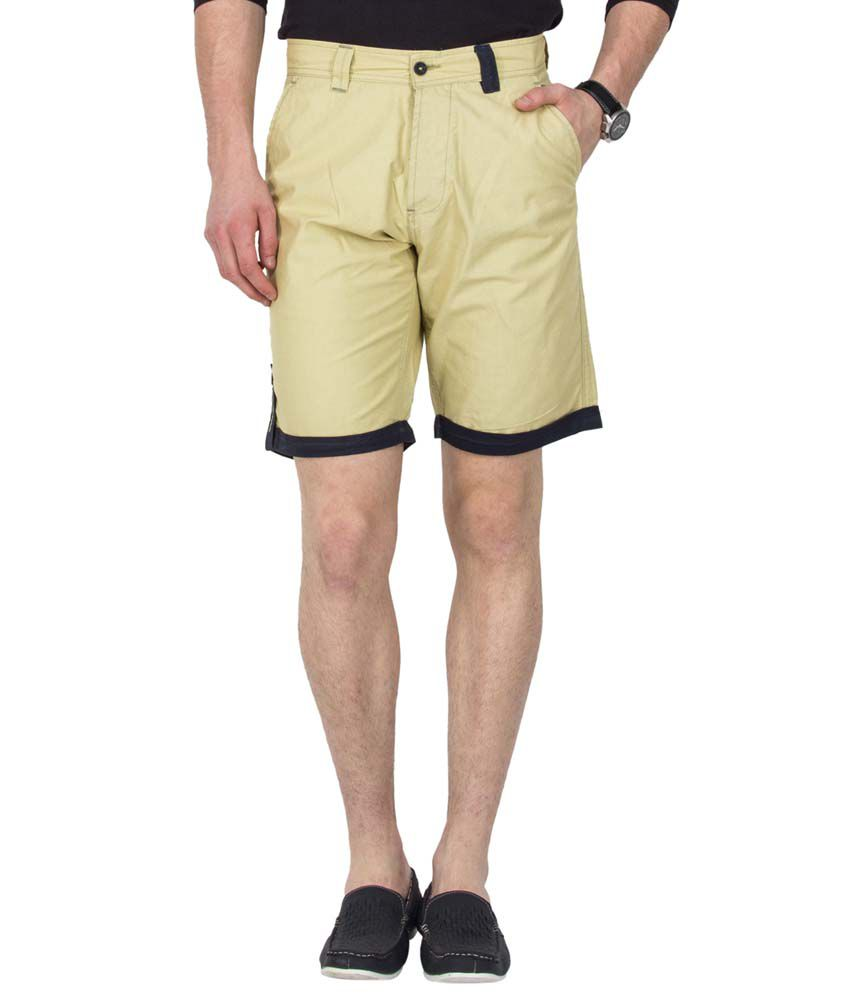 Le Bison Yellow Cotton Casual Shorts