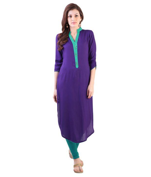 Libas Purple Rayon A Line Kurta