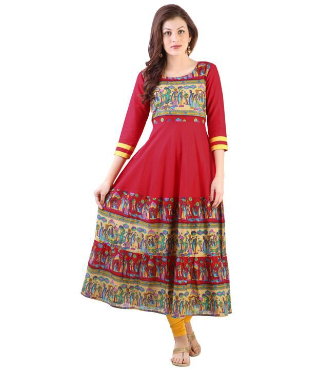 e21272f66 Libas Red Cotton Anarkali Printed Kurta - Buy Libas Red Cotton Anarkali Printed  Kurta Online at Best Prices in India on Snapdeal