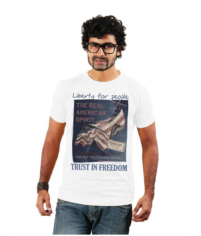Shopping Monster White Printed Cotton Blend T Shirt