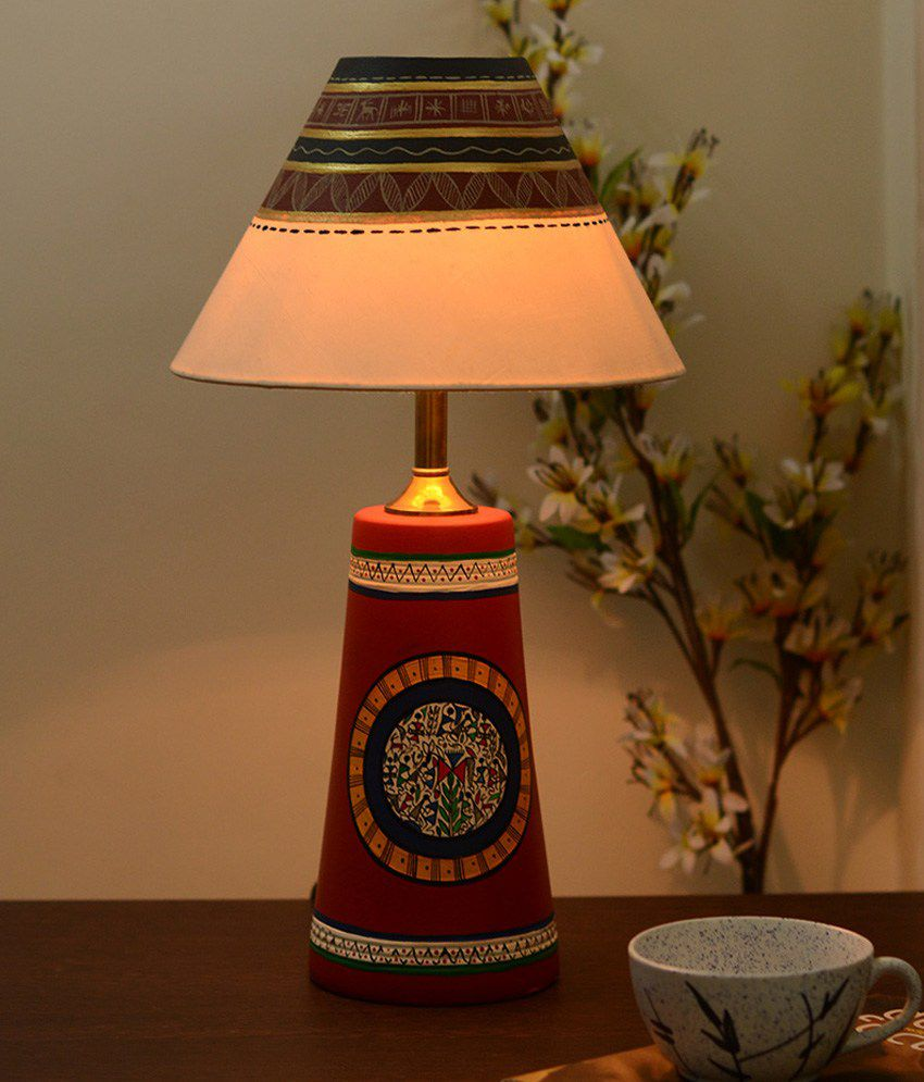 Unravel India Terracotta Lamp Shade With Madhubani Hand