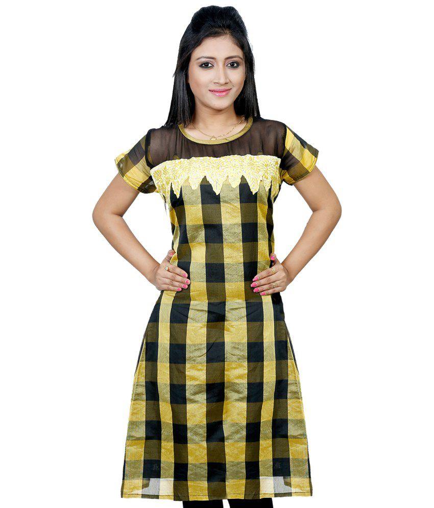 B3Fashion Yellow & Black Cotton Kurti
