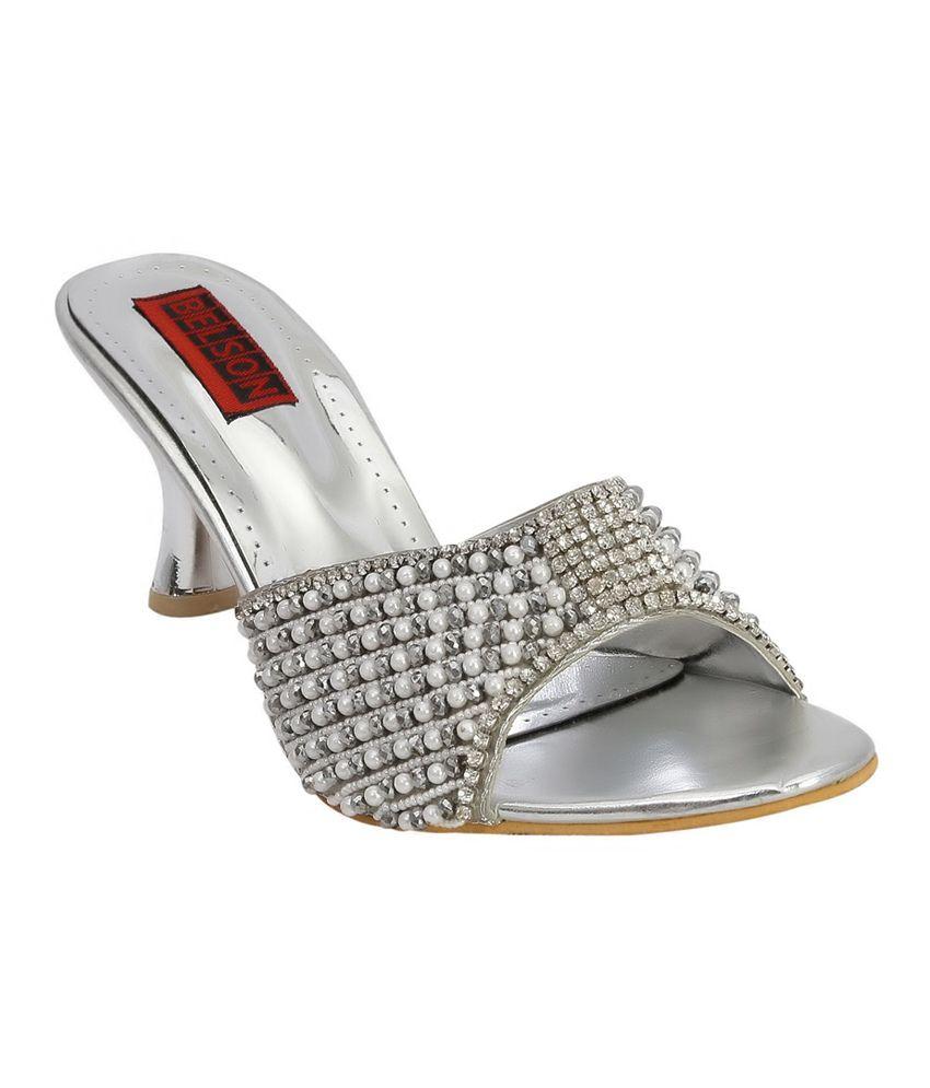 Belson Silver Comfortable Party Wear Medium Heel Sandals Slip - On