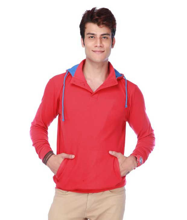 DNS Apparels Red Cotton Blend Hooded T-Shirt