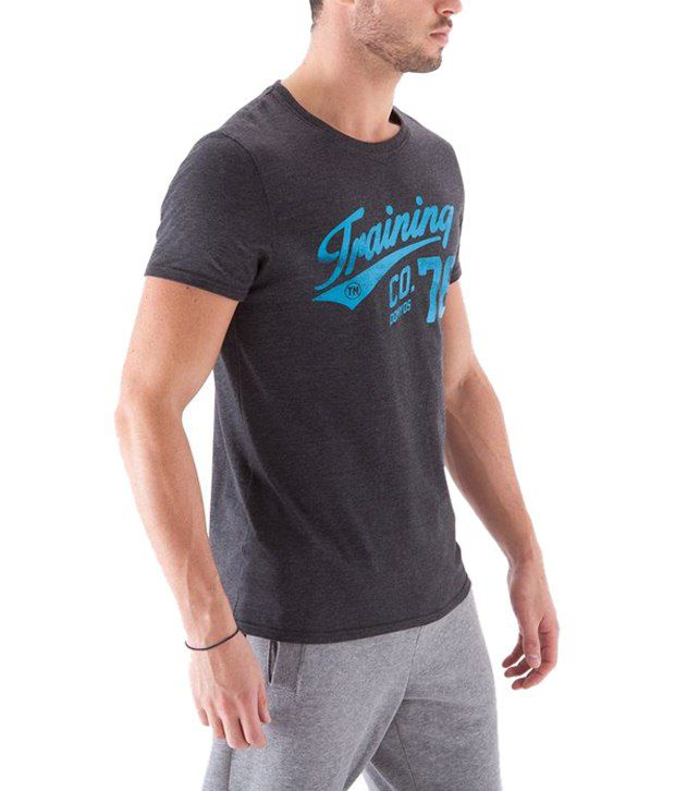 Domyos Dark Gray Printed Fitness T Shirt for Men