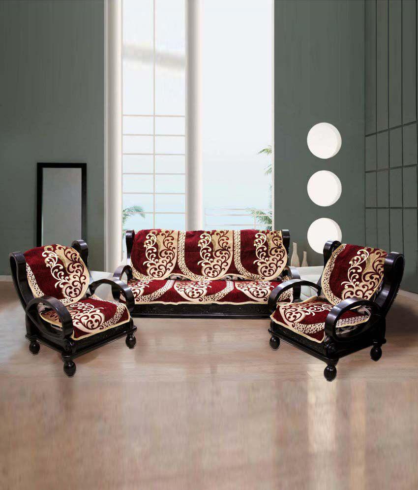 Sofa Set Cover Price In India: FK GOLDEN MAROON ETHNIC FLORAL DESIGN SOFA SLIP COVER Best