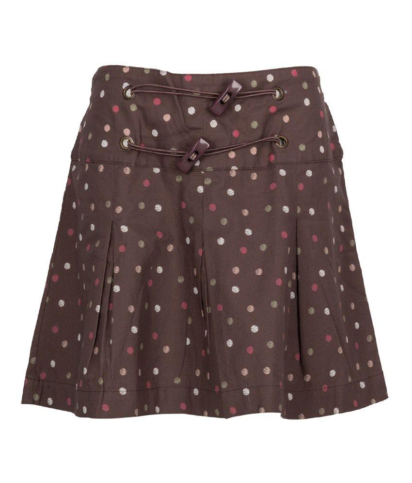 Miss Alibi Brown Cotton Skirt