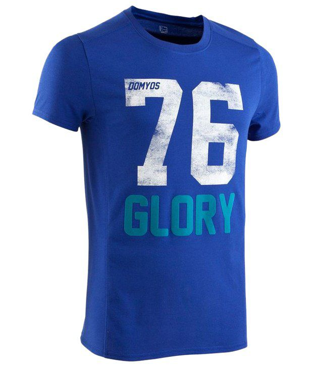 Domyos Blue Dry Skin Printed Fitness T Shirt for Men