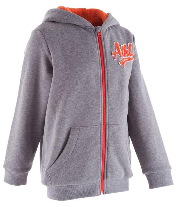 Domyos Gray Brushed Fitness Hooded Jacket for Boys