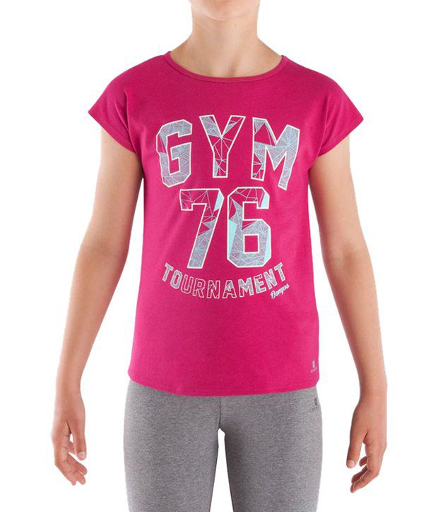 Domyos Pink Fitness T Shirt for Girls