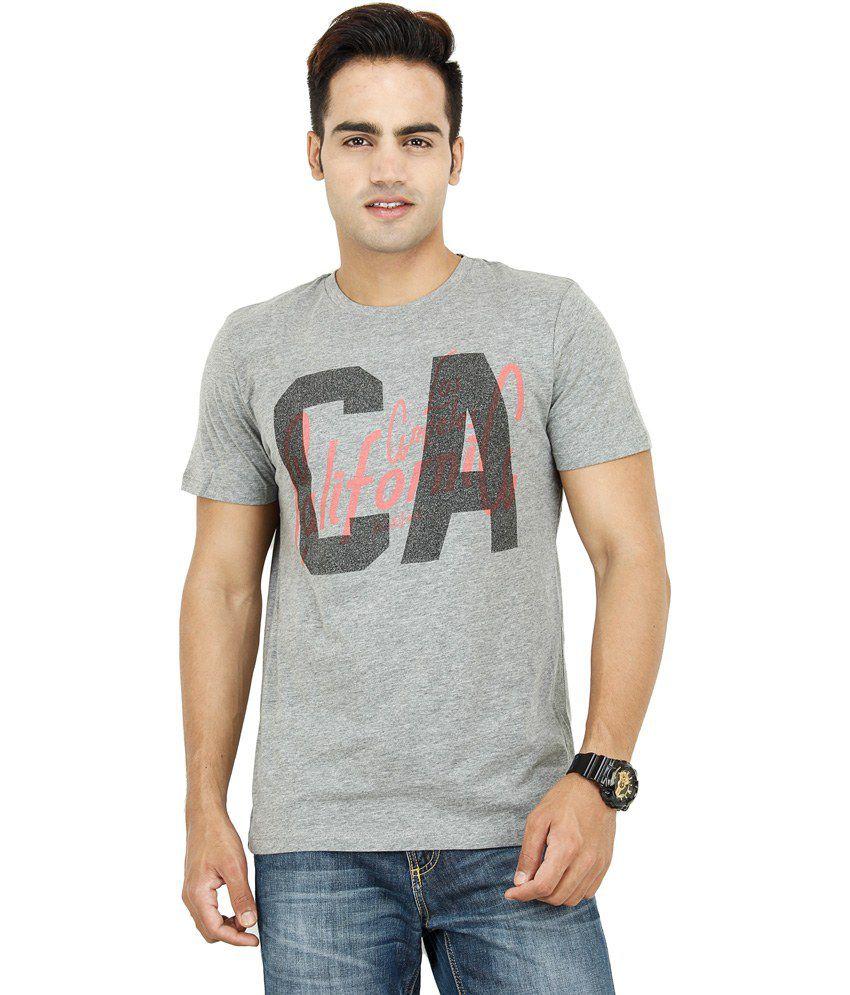 Shri In Gray Cotton Round Neck T-shirt