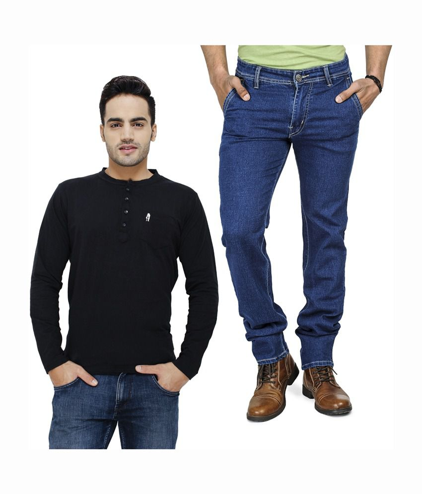 Eprilla Black Henley T-Shirt & Blue Jeans (Pack of 2)
