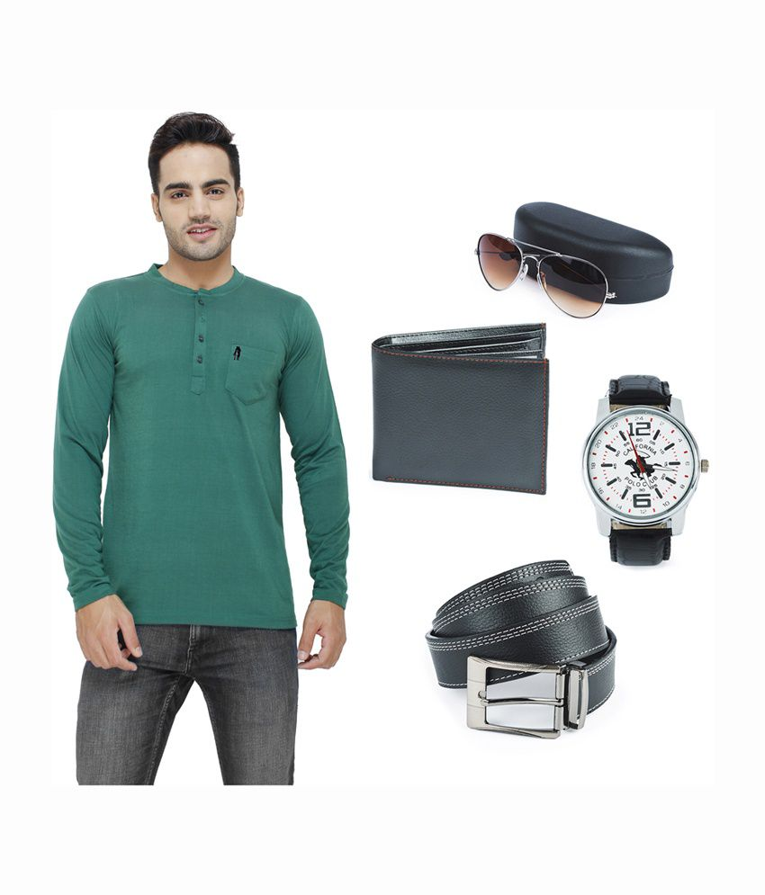 Eprilla Cool Henley T-Shirt with Wallet, Belt, Sunglasses & Watch - Pack of 5