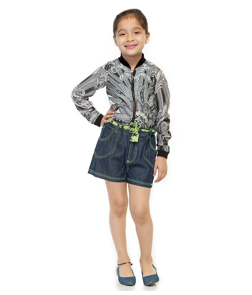 Oxolloxo Cotton Solid Shorts For Girls