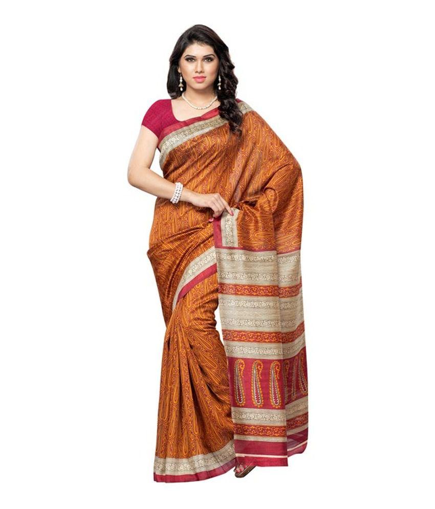 Ambaji Durga Puja Bhagalpuri Silk Yellow Bhagalpuri Silk Saree