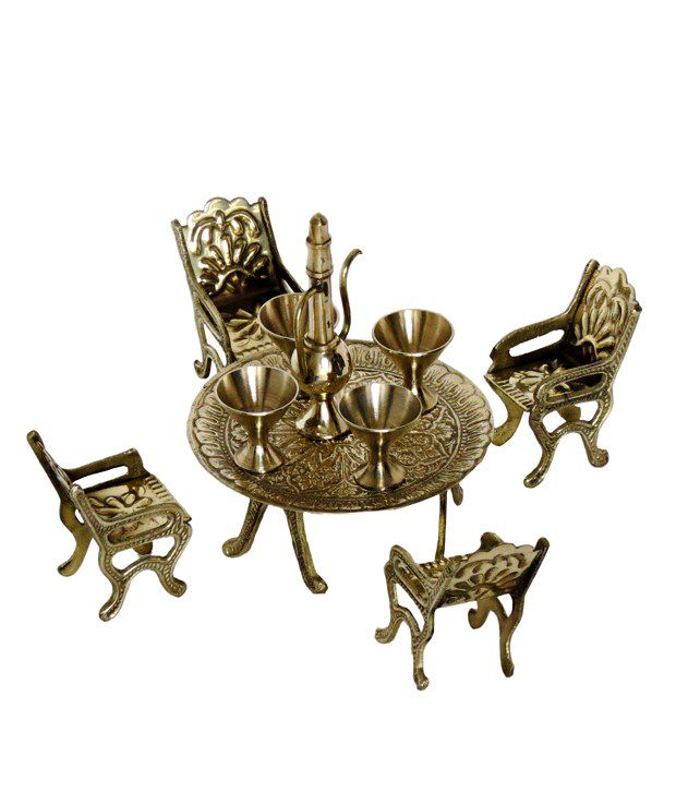 Pindia Fancy Handcrafted Metallic Small Miniature Table Chair With Glasses Set Replica