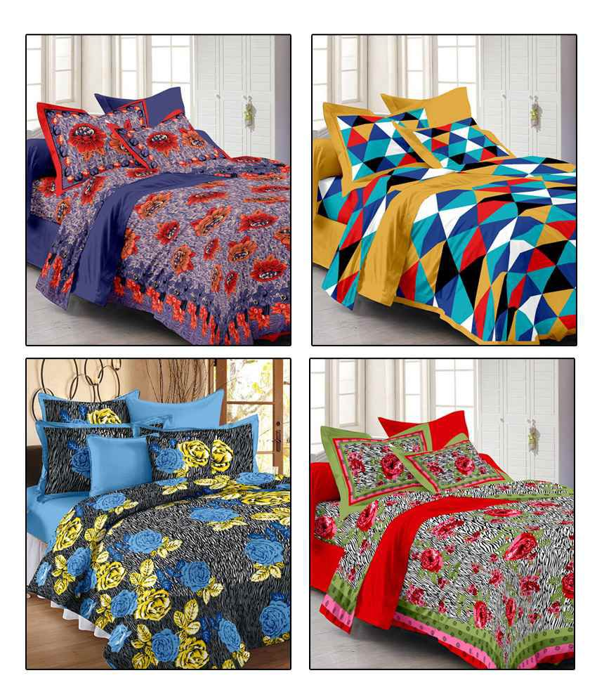 story home flower print double bed sheets pillow covers