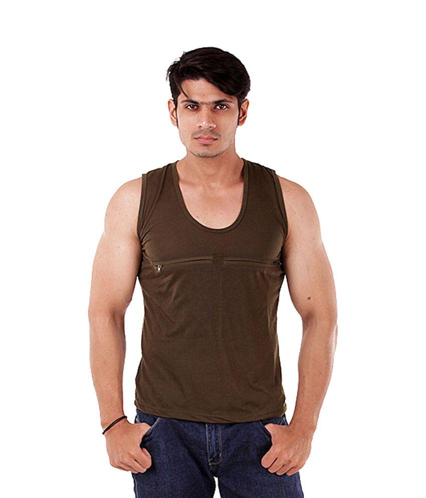 The G Street Brown Cotton Sleeveless T Shirt