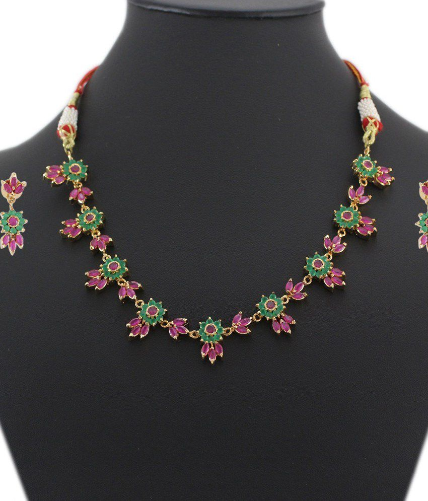 Artificial Bridal Jewellery Sets: 925 Silver Colorful Artificial Bridal Necklace Jewelry Set