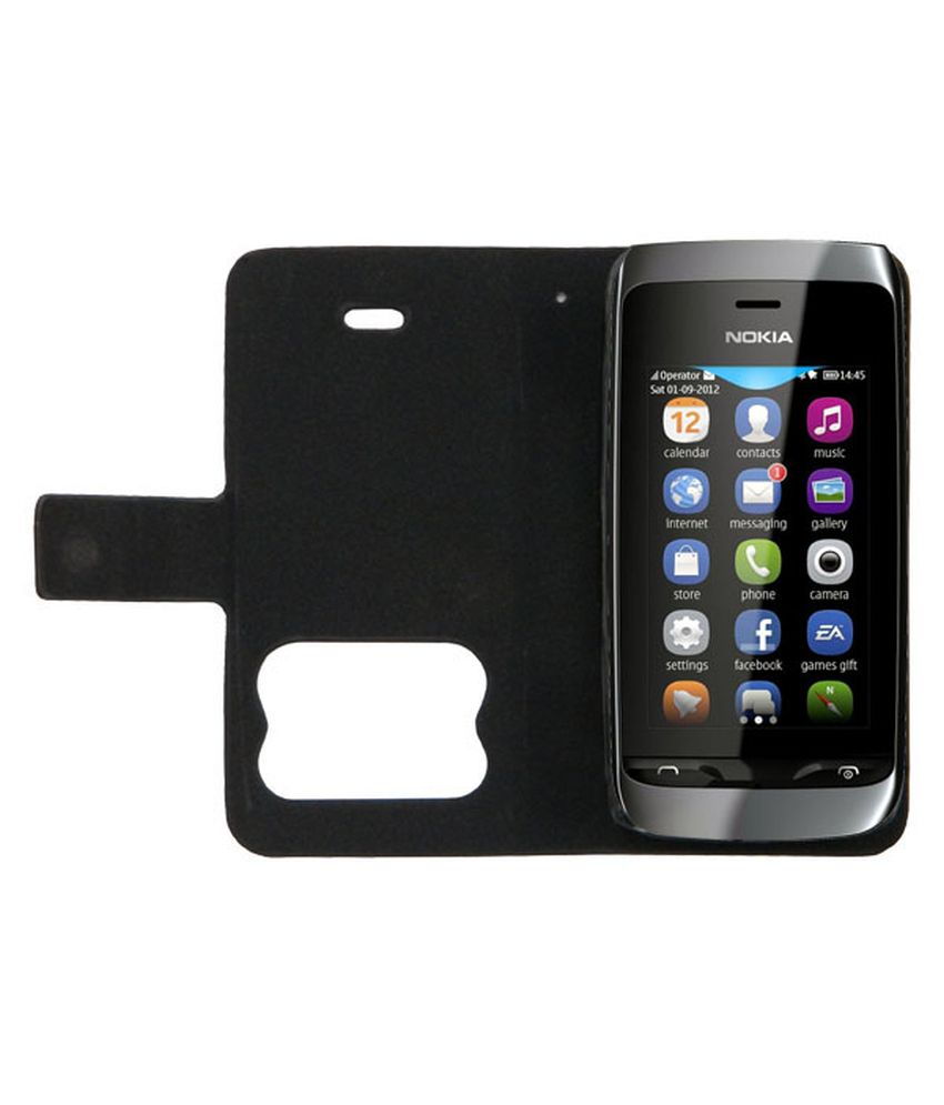 online store 77dab 4200b Acm Caller Id Table Talk Case For Nokia Asha 308 Mobile Front & Back Flip  Flap Cover Stand - Black