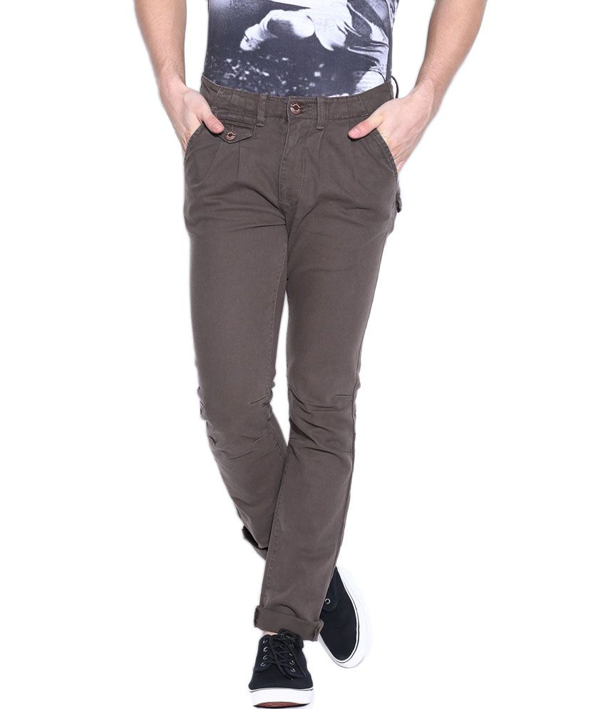 Hara Gray Cotton Slim Fit Chinos