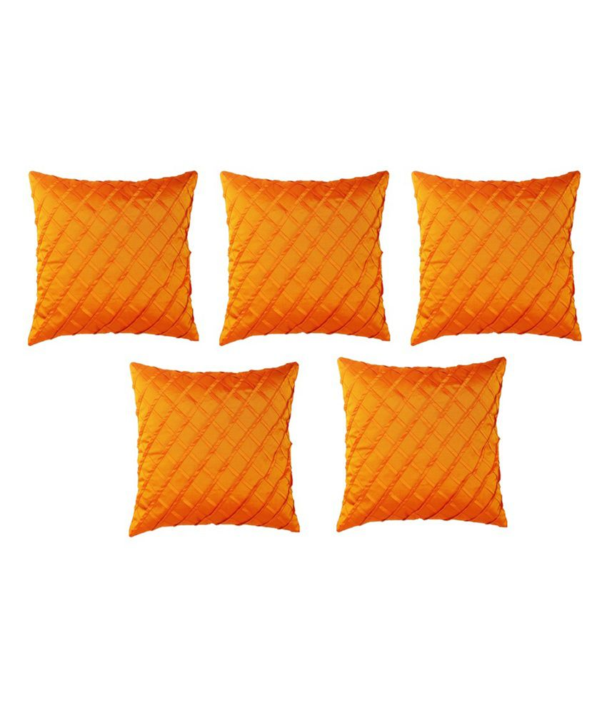 Homec Trendy Pintuck Cushion Cover Set of 5 - Orange