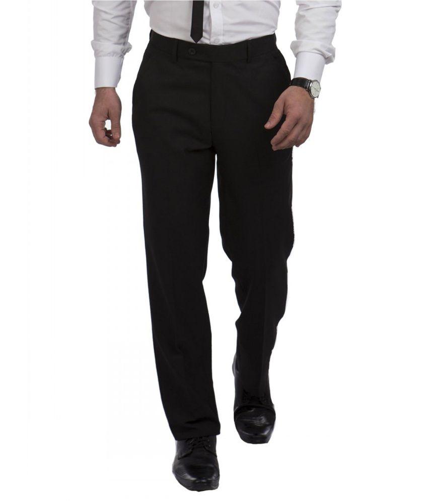 Sangam Apparels Black Poly Viscose Formal Trouser